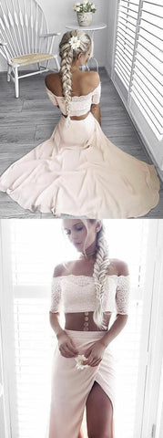 F0140 Two Piece Strapless Half Sleeves Pearl Pink Prom Dress with Lace