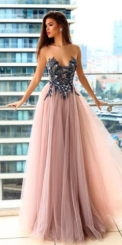 F0178 Strapless long prom dress,sexy evening dress with tulle