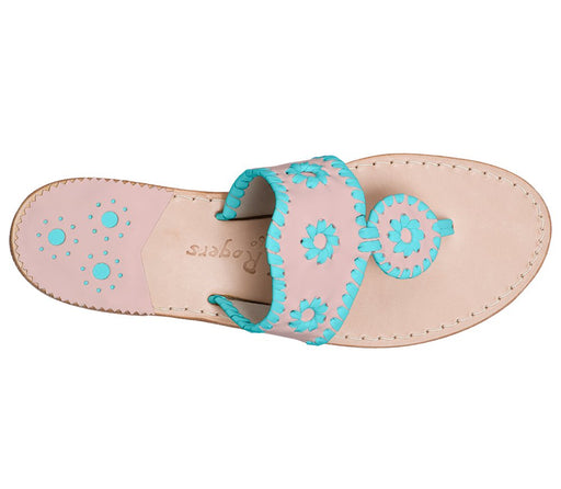Custom Jacks Sandal Wide - Blush / Caribbean Blue-Jack Rogers USA