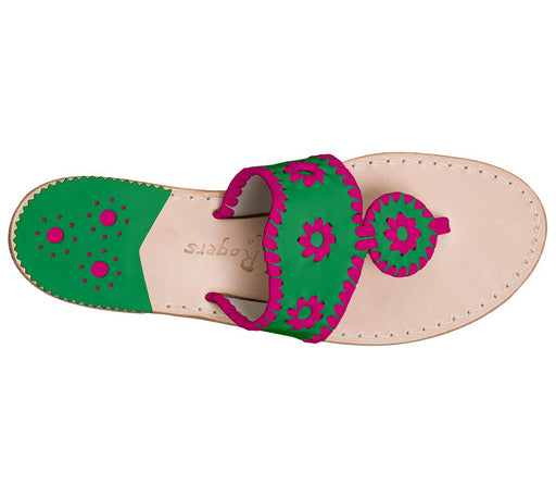 Custom Jacks Sandal Wide - Green / Bright Pink-Jack Rogers USA