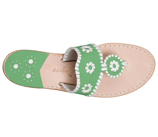 Custom Jacks Sandal Medium - Green / White-Jack Rogers USA