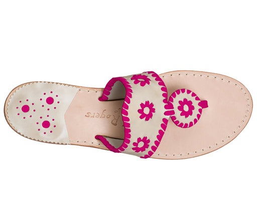 Custom Jacks Sandal Medium - Platinum / Bright Pink-Jack Rogers USA