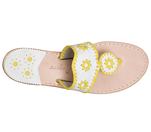 Custom Jacks Sandal Medium - White / Yellow-Jack Rogers USA