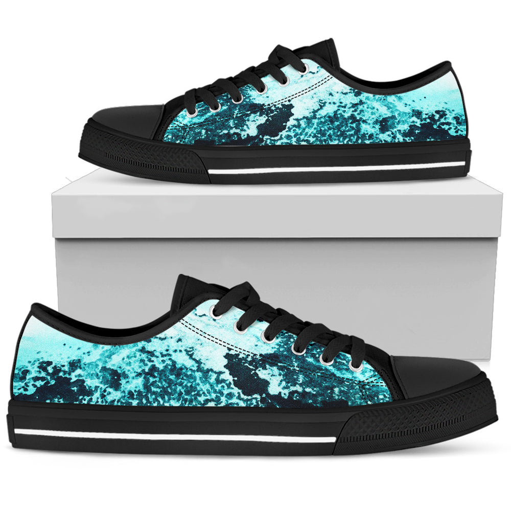 Men's Low Tops Ocean Print (Black Sole)