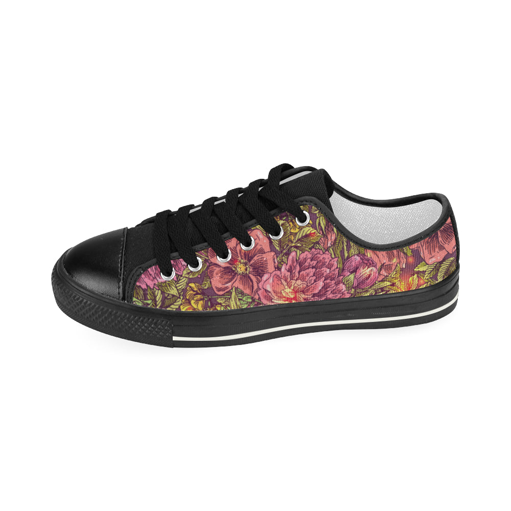 Day of the Dead Sugar Skull Flowers Women's Classic Canvas Shoes Casual Shoes - CRE8Custom