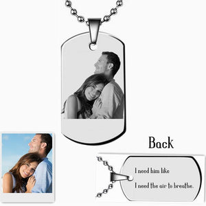 Personalized Photo Words Engraved Tag Necklace Custom Name Pendant  Gift For Family Friends Lovers Girls