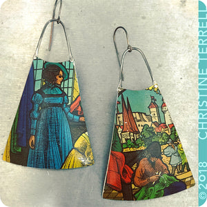 Lady in Blue Upcycled Vintage Tin Earrings 40th Birthday Gift
