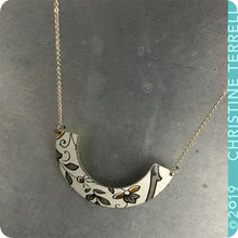Load image into Gallery viewer, Gray & Gold on White Wide Arc Tin Recycled Necklace