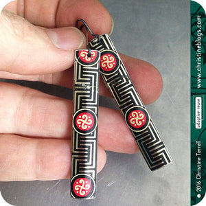 Chinese Black Maze Pattern Recycled Tin Earrings
