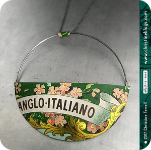 Anglo Italiano Pink Flowers Upcycled Tin Pendant