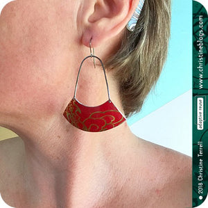 Large Fan Upcycled Tin Earrings by Christine Terrell for adaptive reuse