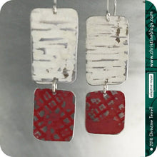 Load image into Gallery viewer, Red & White Rustic Zero Waste Tin Earrings