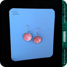 Load image into Gallery viewer, Etched Silver Heart on Red Tiny Dot Tin Earrings
