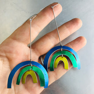 Shimmery Cool Rainbows Upcycled Tin Earrings