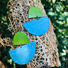 Load image into Gallery viewer, Sky Blue and Grass Green Upcycled Tin Boat Earrings