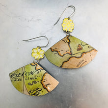 Load image into Gallery viewer, Vintage Maps and Flowers Fan Upcycled Tin Earrings