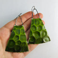 Load image into Gallery viewer, Sap Green Textured Upcycled Vintage Tin Long Fan Earrings