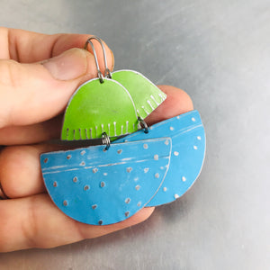 Sky Blue and Grass Green Upcycled Tin Boat Earrings