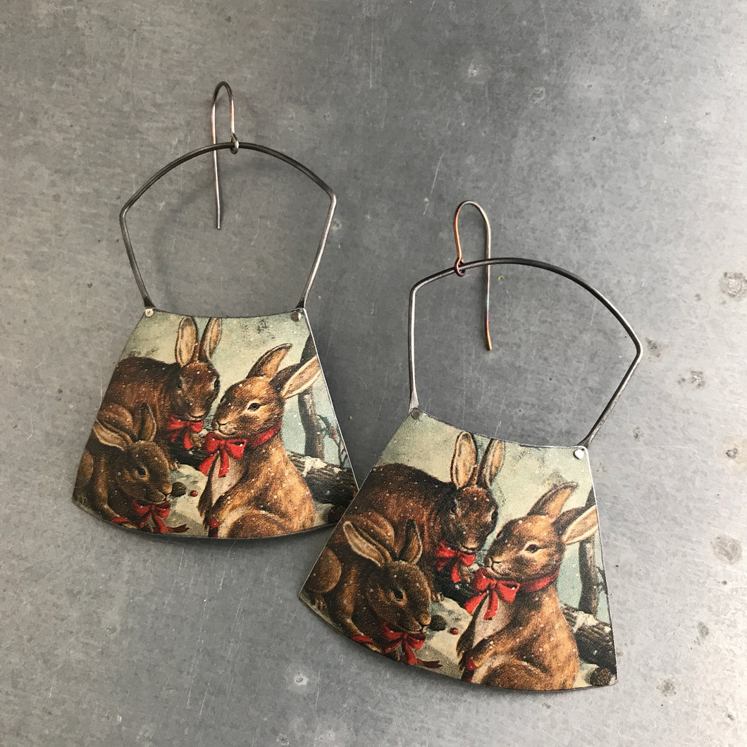 Bunnies! Large Fan Recycled Tin Earrings