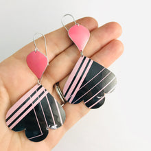 Load image into Gallery viewer, 80s Soft Pink Lines on Black Trefoil Upcyled Tin Earrings