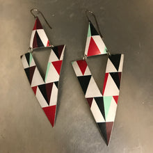Load image into Gallery viewer, Triangle Cutouts Big Recycled Tin Earrings