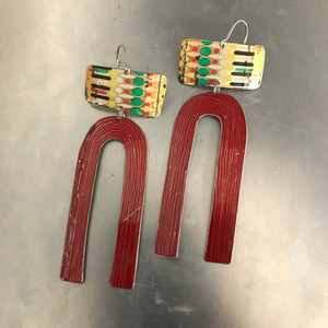 Vintage Dashes Dots and Red Horseshoe Tin Earrings