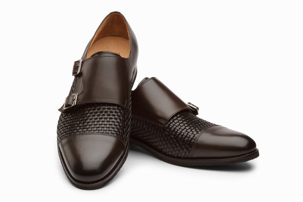 Toe Cap Double Monkstrap- Dark Brown