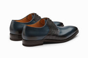 Albert Crocodile Leather Derby - Navy
