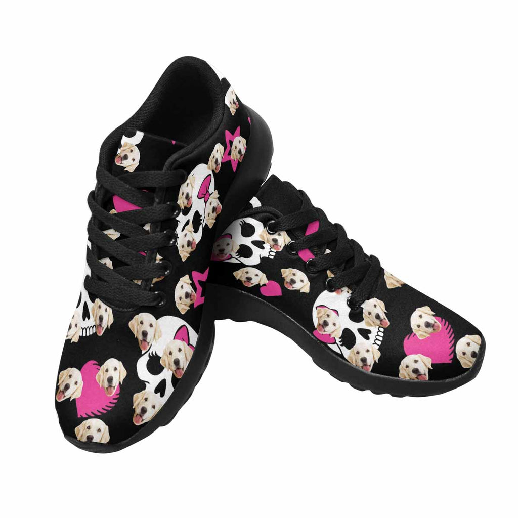 Personalized Printed Skulls Pup Women's Running Shoes Hearts and Stars