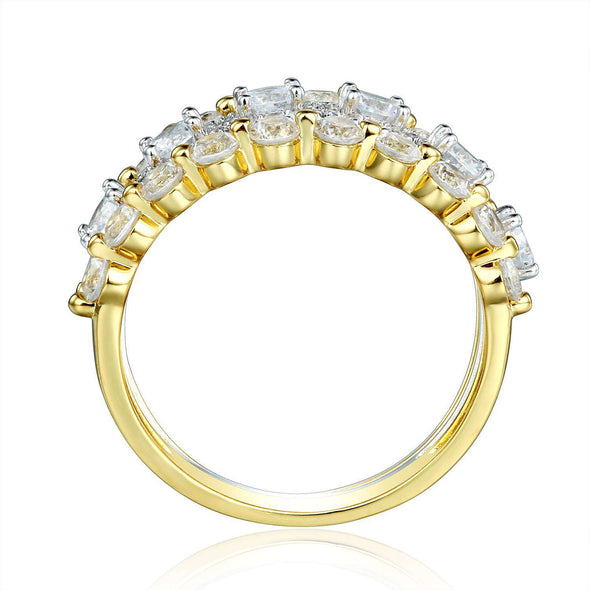 3Pcs Round Cut Lab-created Sapphire Yellow Gold Wedding Bands in 925 Sterling Silver