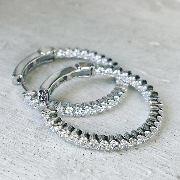 Stylish Lab-created Sapphire Hoop Earrings in 925 Sterling Silver