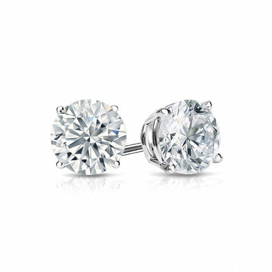Round Cut White Lab-created Sapphire Classic Stud Earrings in 925 Sterling Silver