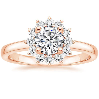 Sunburst Round Cut Lab-created White Sapphire Rose Gold Engagement Ring in 925 Sterling Silver