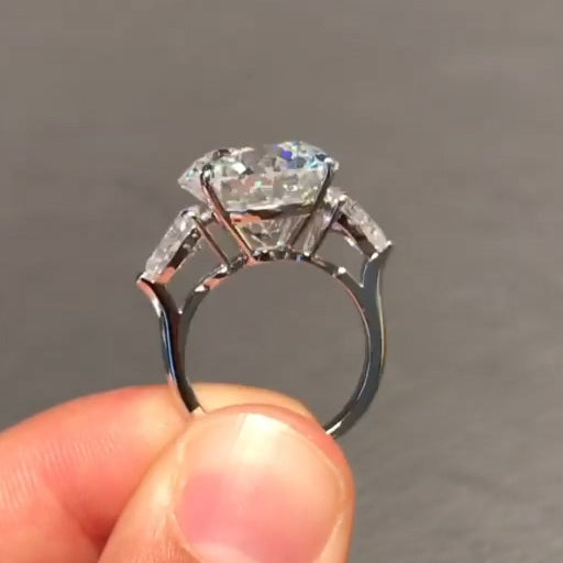 3-Stone Round Cut Lab-Created Sapphire Engagement Ring in 925 Sterling Silver
