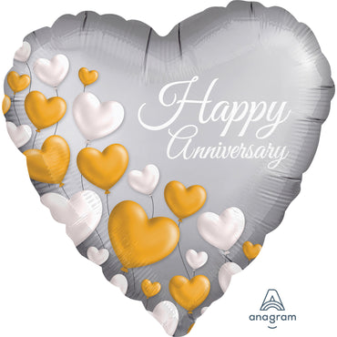 18inch Happy Anniversary Platinum Hearts Satin Foil Balloon