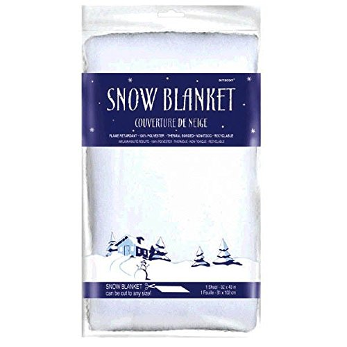 "Amscan Winter Wonderland Christmas Party Snow Blanket, 40"" x 32"", White"