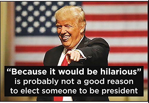 """Because it would hilarious"" is probably not a good reason to elect someone to be president (Donald Trump)"