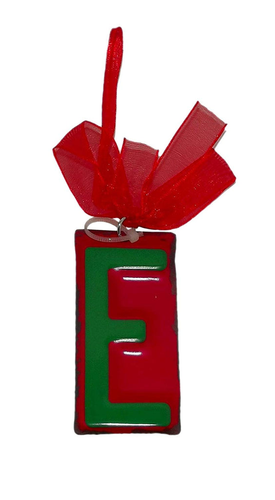 "GANZ Green Initial License Plate Christmas Ornament - Letter ""E"""