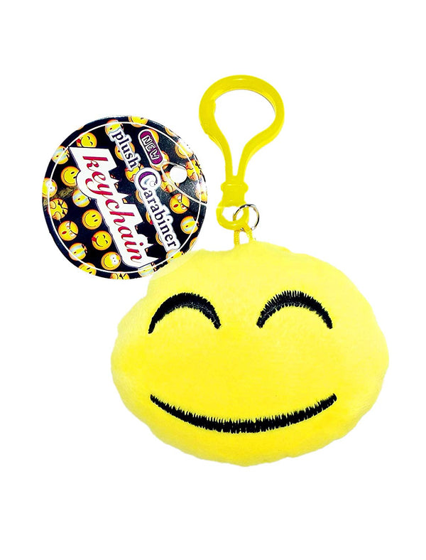 Emoji Plush Carabiner Keychain, Happy