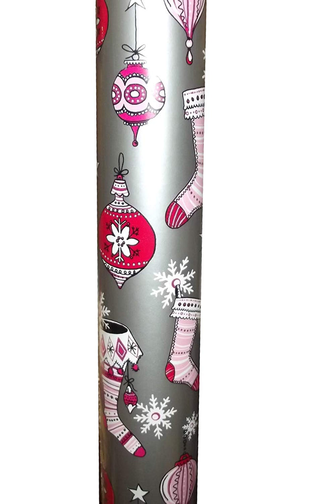 Stocking Party Silver Jumbo Gift Wrap Roll