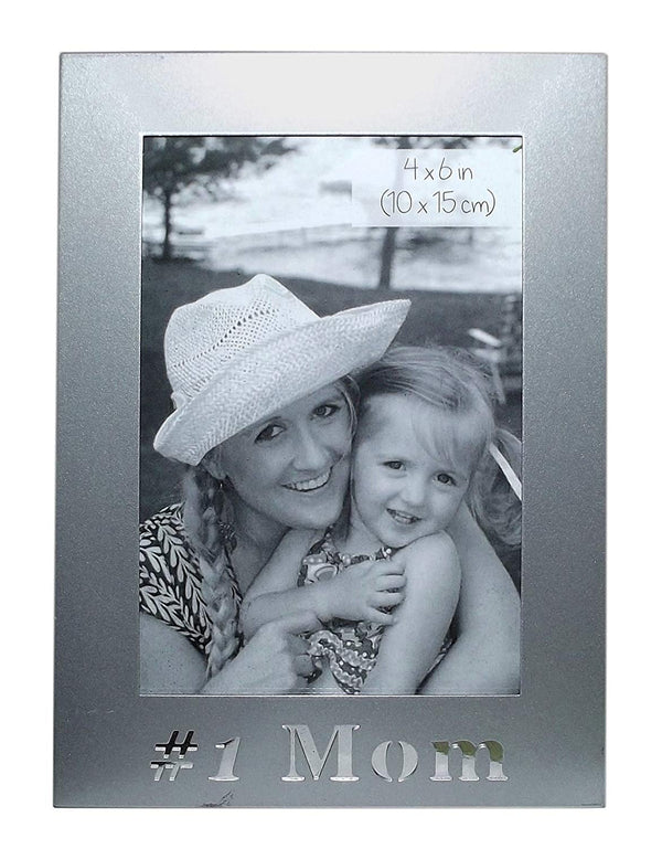 "#1 Mom 4 x 6"" Metal Picture Frame"