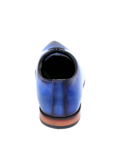 POINTY - 6003 BLUE LEATHER SHOES