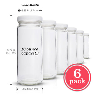 Reusable Glass Water Bottle Set - 6 Pack Wide Mouth with Lids for Juice, Smoothies, Beverage Storage