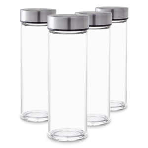 Juice Bottles Set - Wide Mouth, Stainless Steel Lids for Juicing Smoothies, Beverage Storage, Tempered Glass