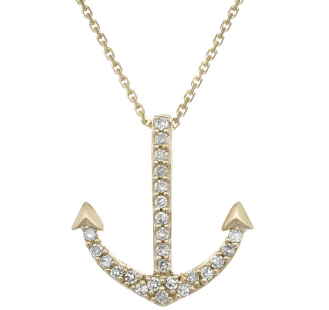 Anchor Pendant with Diamond Accent in 14K Gold