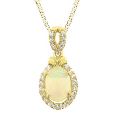 Oval Shaped Gemstone Pendant with Diamond Accent in 10K Gold