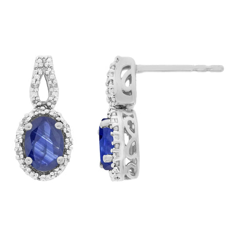 Gemstone Oval Earrings with Diamond Accent in 10K Gold