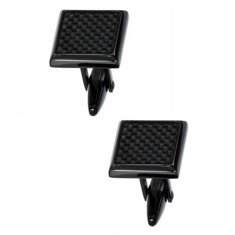 Stainless Steel Cufflinks with Carbon and Black Plating