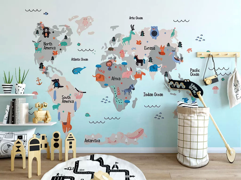 World Map Kids Room Wall Mural Wallpaper Custom Printing