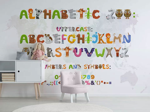 Colorful Alphabet And Numbers Custom Wall Murall Wallpaper For Kids